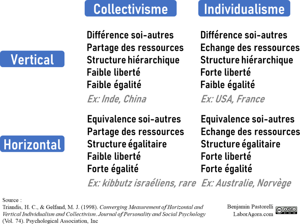 Harry Triandis propose quatre grands syndromes culturels, en fonction que la culture est plutôt individualiste ou collectiviste, verticale ou horizontale.